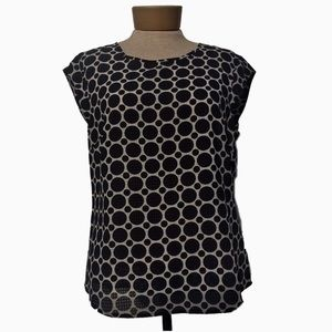 The Limited Blue Polka Dot Cap Sleeve Blouse M